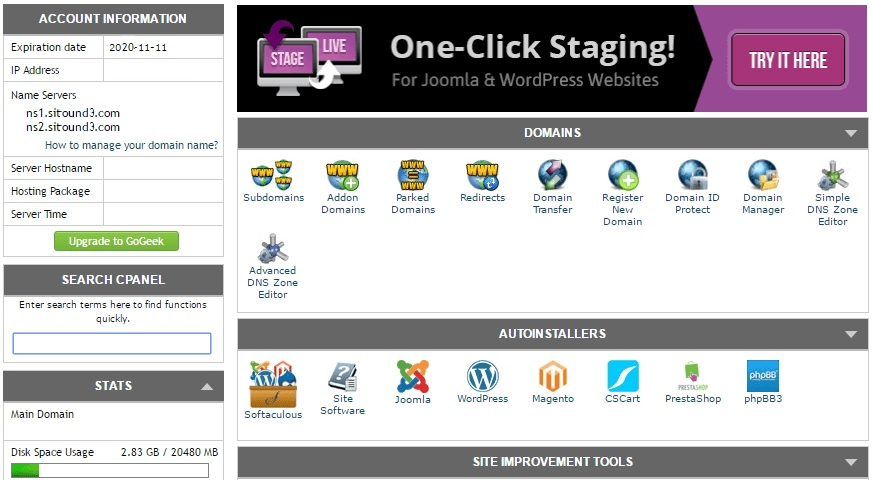 Cpanel c установкой WordPress