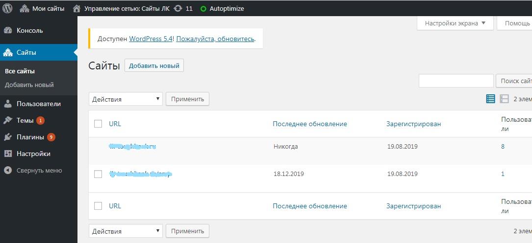 wordpress сайты из мультисайтовая панель