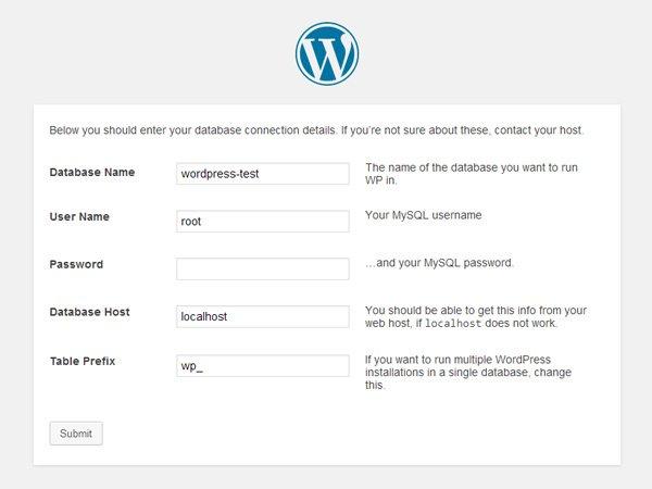 Введите данные для подключения к WordPress