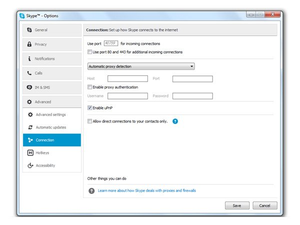 Параметры подключения Skype