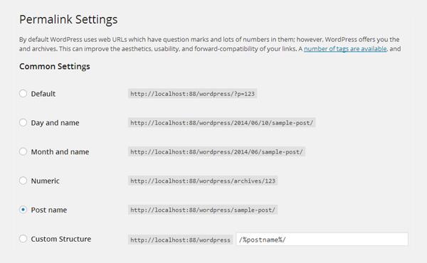 Настройки постоянной ссылки WordPress